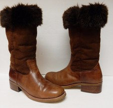 NINE WEST Women's Leather Faux Fur Boots Pull On Roll Top Brown Size 10 M - $39.95