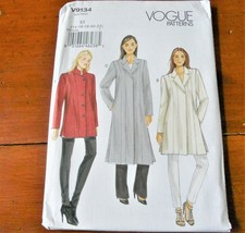 Vogue Pattern V9134 Jacket Coat Loose Fit New Factory Folded * - $14.35