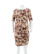 Mother Bee Mauve & Blush Floral Ruched Maternity Dress L NEW 486-685 - $29.68