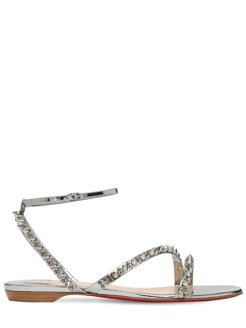 Christian Louboutin Silver Mafaldina 10MM Sandals New - $899.00