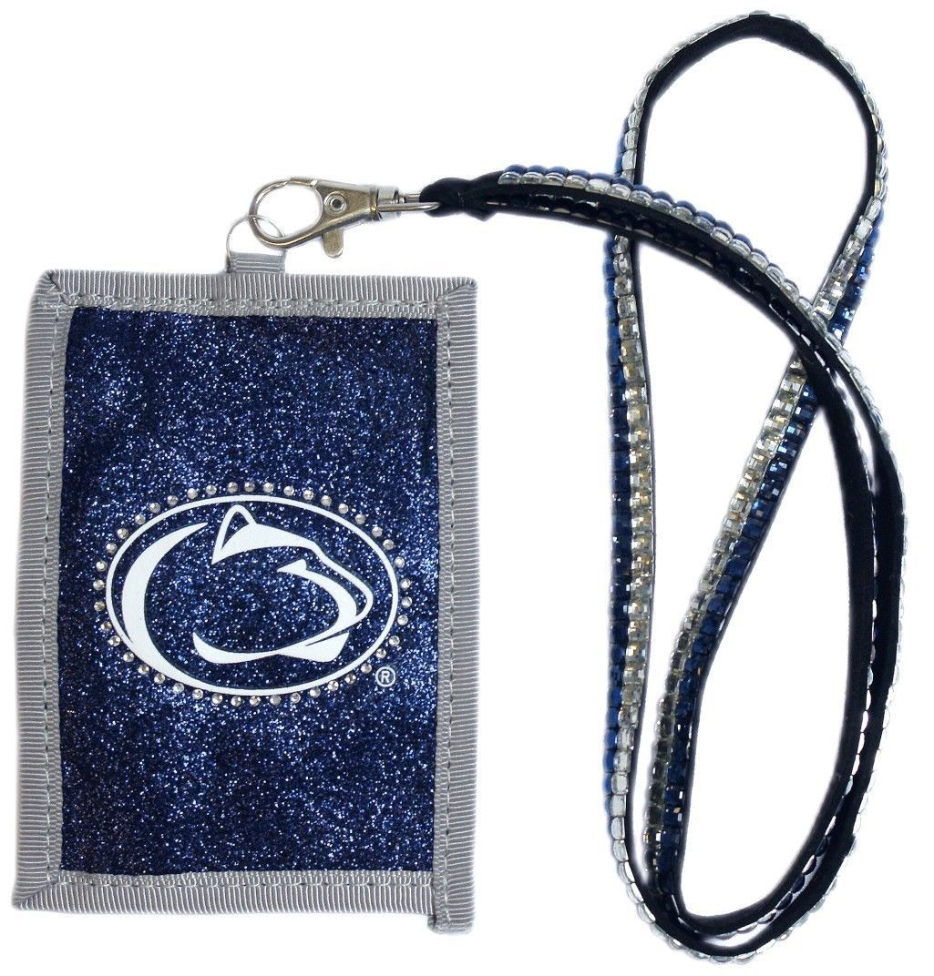 PENN STATE NITTANY LIONS BEADED LANYARD ID CREDIT CARD ZIPPER POCKET WALLET