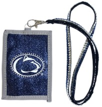 PENN STATE NITTANY LIONS BEADED LANYARD ID CREDIT CARD ZIPPER POCKET WALLET - $12.56