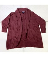 Lands End 3/4 Solid Cotton Open Cardigan Sweater Womens S Claret Red - $24.75