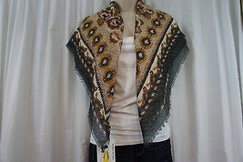 Cejon Scarf Sz OS One Size Black Brown Grey Multi Color Evening Casual Wrap - $12.09