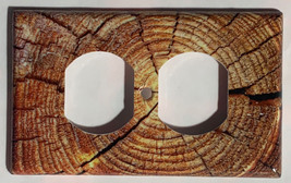 Circle Wood Photo image Light Switch Outlet wall Cover Plate Home decor image 3