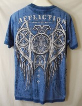 Affliction Live Fast Graphic T Shirt Fleur De Lis Wings Crosses Black St... - $29.69