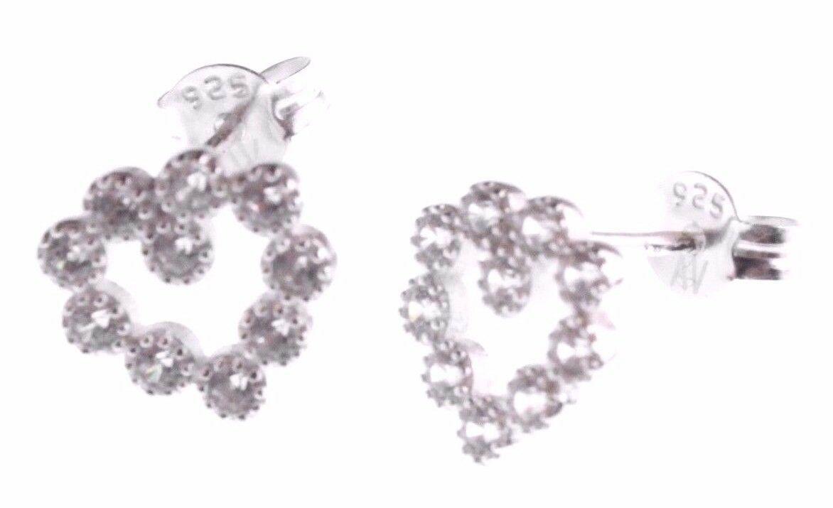 Dolce Vetra Stering Silver Open Cubic Zirconia Crystal Heart Stud Post Earrings