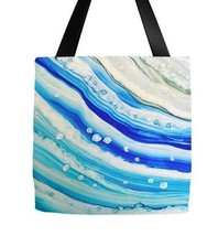 Tote bag All over print Abstract 24 blue turquoise sea modern art by L.D... - $29.99+