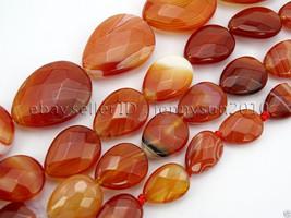 Red Carnelian Natural Agate Gemstone Faceted Flat Teardrop Loose Beads 15'' - $6.32+