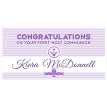 First Holy Communion Banner Personalized Purple Chevron Party Backdrop - $427,19 MXN