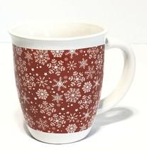 Royal Norfolk Christmas Holiday Coffee Mug Red White Snowflakes Christmas Cup - $11.77