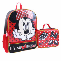 Disney Minnie Mouse Backpack With Lunch Bag Set Red - $24.98
