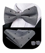 Dubulle Black Floral Bowties for Men with Handkerchief Pocket Square Han... - $13.11