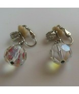 Vintage Signed Laguna Crystal Faceted Dangle Ball Clip-on Earrings  - $26.72