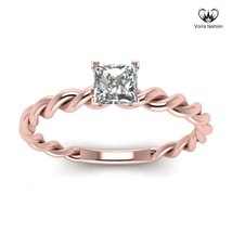 Princess Cut Diamond Solitaire Rope Style Ring Rose Gold Plated Pure 925... - ₨4,536.46 INR