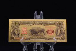 <MINT >PRECISE DETAIL~GOLD~1901 UNC.$10 DOLLAR BISON Rep*Banknote~US SELLE - $11.23