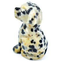 Dalmatian Dacite Gemstone Tiny Miniature Spotted Dog Figurine Hand Carved China image 3