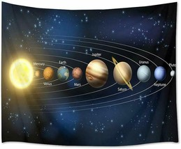 """Tapestry- AWESOME FUN Solar System Planets Space Science 60"""" x 40"""" Wall ... - $29.00"""