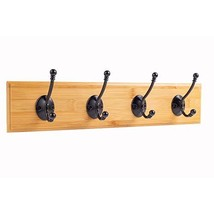 Wall-Mounted Coat Rack,Bamboo Mounted Coat Hook,4 Standard Coat HooksBlack Hook