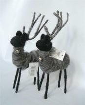 2 Wool Wire Reindeer Figure Black Grey Deer 8 x 4 Xmas Winter Deer Prim ... - $21.78