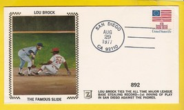 LOU BROCK ALL TIME BASE STEALING LEADER SAN DIEGO CA AUG 29,  1977 Z SILK  - $2.98