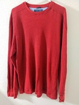 Tommy Hilfiger Long Sleeve Shirt Thin Sweater Red Ribbed Men's Large - $9.89