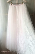 White Tulle Lace Maxi Long Skirt White Wedding Tulle Skirt 4XL Plus Size image 1
