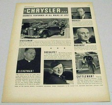 1937 Print Ad Chrysler Cars Performer in All Walks of Life - $11.63