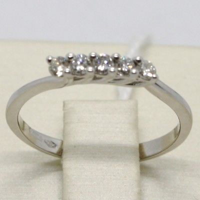 WHITE GOLD RING 750 18K, VERETTA WITH 5 DIAMONDS, CARAT 0.20, MADE IN ITALY