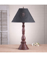 """DISTRESSED RED TABLE LAMP & 15"""" Punched Tin Shade - Primitive Handmade L... - $263.95"""