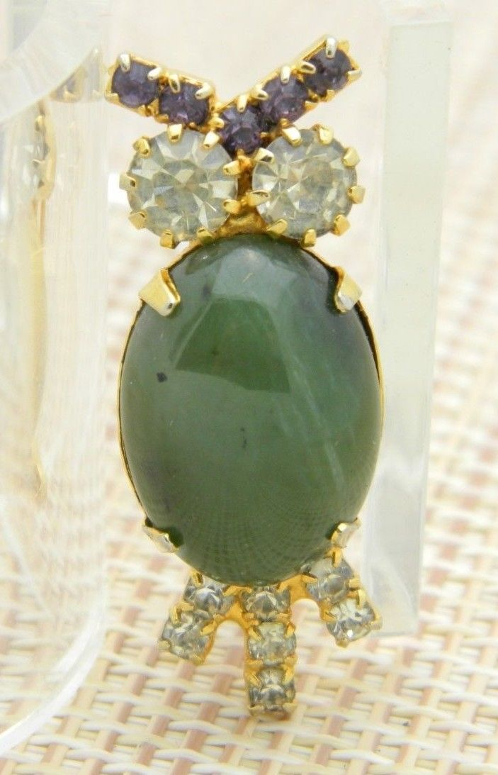 Primary image for Green Agate Rhinestone Owl Gold Tone Pin Brooch Vintage