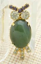 Green Agate Rhinestone Owl Gold Tone Pin Brooch Vintage - $29.69