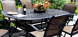 Cast aluminum wicker furniture 7 piece dining set Santa Clara outdoor patio image 2