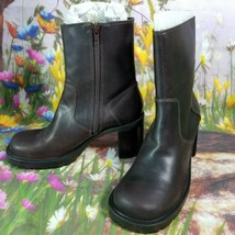 American Eagle Mid-Calf Brown Boots Shoes Faux Leather  Zip Heels Studs 8M - $16.83