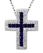 Zaffiro Blu Pietra Zodiacale 14K Oro Bianco 0.39CT Religioso Croce - $1,145.42