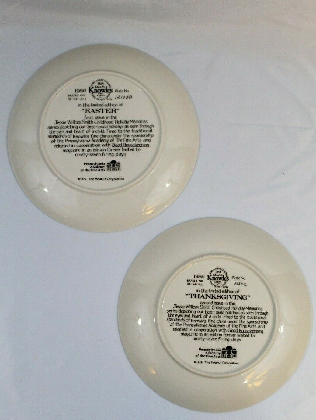 2 KNOWLES COLLECTOR PLATES VINTAGE 1986 EASTER (1216813) THANKSGIVING(6323C)