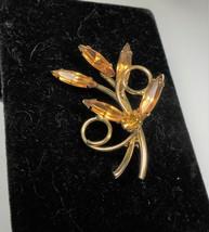 Vintage Gold Tone & Amber Rhinestone Floral Pin Brooch - $9.89