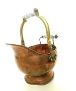 Vintage Coal Ash Bucket Scuttle Copper/ Porcelain Handle - $32.99