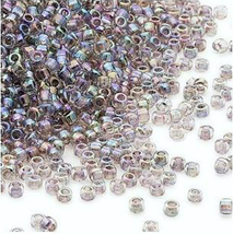 Matsuno 11/0, Clear, Color Lined Peacock, Round Seed Bead, 50g, glass - $6.00