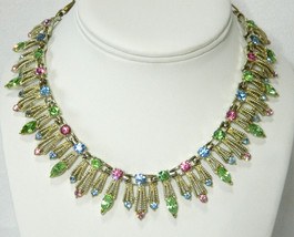 Coro Pastel Stones Fringed Collar Wedding Bridal Necklace Feminine Bridal Neckla - $39.95