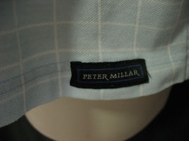 Peter Millar Mens Large Blue Window Pane Cotton Polo Shirt Short Sleeve image 4