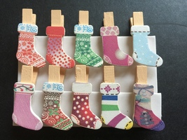 30pcs Christmas Stocking Pegs,Wooden Clip,Cloth... - $7.20