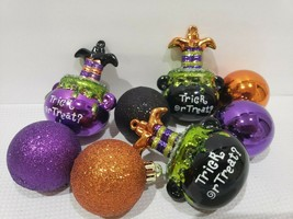 8pc Halloween Glitter Purple Orange Cauldron Witch Legs Ball Ornaments 2... - $24.99