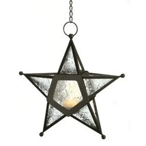 Gifts & Decor 57070454 Clear Star Candle Lantern, Black - $19.76