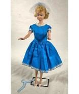 VINTAGE BARBIE OOAK BLUE DRESS OUTFIT W/ SHOES VEIL & HANGER LT 17 9 - $59.39