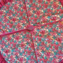 """48"""" Christmas Tree Skirt Poinsettia Design Ruffled Edge Burgundy Green Gold - $14.99"""