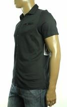Alfani Men's Black Shadow-Stripe Short Sleeve Deep Black Cotton Shirt Small - $24.99