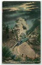 Cripple Creek Railroad Train Moonlight Night Colorado 1916 postcard - $6.44