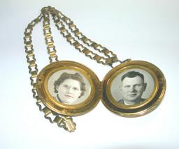 LARGE BLACK ENAMEL GOLD TONE HUGE PHOTO LOCKET NECKLACE PENDANT & BRASS ... - $150.00