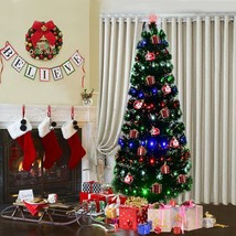 7Ft Pre-Lit Artificial Christmas Tall Tree Hinged w/ 275 LED Lights & Pine Cones - $125.99